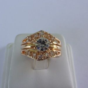 Gold Tone Solitaire With Jacket Fashion Ring